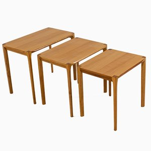 Midcentury Ash Nesting Tables by Rex Raab for Wilhelm Renz