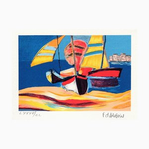 Petite Suite: Segelboote am Strand von François Darguin