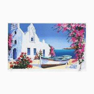 Barco en la playa de Grecia de Andre Bongibault