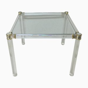 Vintage Lucite and Brass Side Table