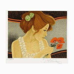 Mujer en amapola de Yves Ganne