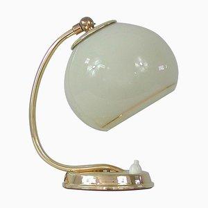 Lampe de Bureau Art Déco en Laiton & Verre Opalin, Allemagne, 1930s