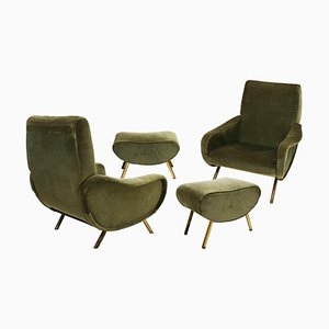 Mid-Century Italian Modern Lady Armchairs by Marco Zanuso for Arflex, Set of 4