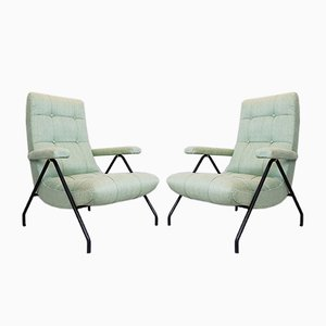 Italian Armchairs with Black Metal Tubular Frames, 1950s, Set of 2