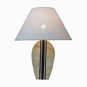 Brass and Stone Inlay Table Lamp, 1970s