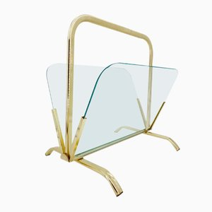 Magazine Racks in Brass and Glass