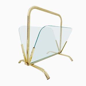 Zeitungsständer aus Messing und Glas