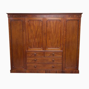 Large Georgian Mahogany Four Door Wardrobe