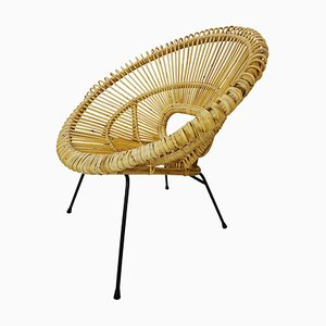 Rattan and Metal Chair by Franco Albini
