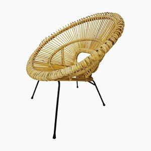 Stuhl aus Rattan & Metall von Franco Albini