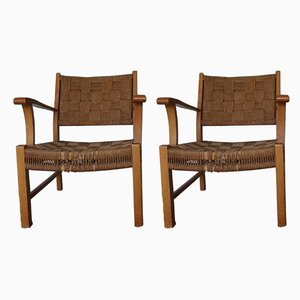 Beechwood & Sea Grass Webbing Armchairs by Frits Schlegel for Fritz Hansen, 1940's, Set of 2