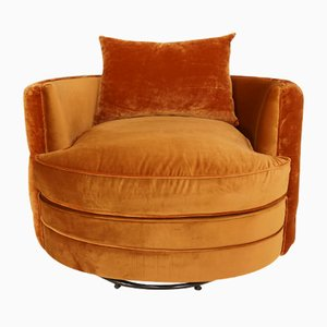 Large Velvet Swivel Chair