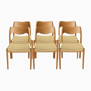 Danish Model 71 Dining Chairs by Nils Otto Möller for J. L. Möller, 1970s