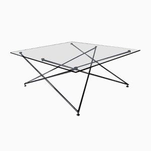 Niedriger Tisch aus Chrom und Glas