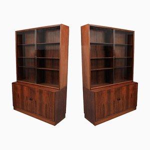 Armarios daneses de palisandro y vidrio de Søborg Furniture, años 60. Juego de 2