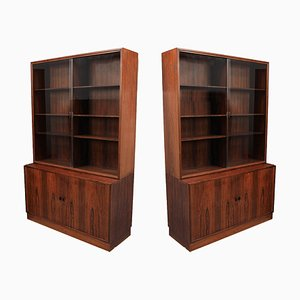 Danish Rosewood & Glass Cabinets from Søborg Furniture, 1960s, Set of 2