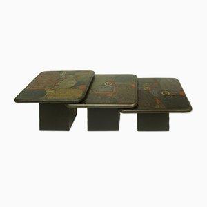 Tavolini a incastro brutalisti di Paul Kingma per C Kneip, Germania, 1991, set di 3