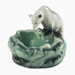 Czechoslovakian Art Deco Polar Bear Sculpture Dish by Ditmar Urbach, 1930s