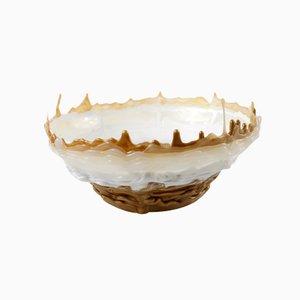 Hot Mess Gefäß Dursichtige Runde Schale in Weiß und Gold von Tanner Bowman