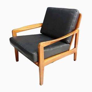 Sedia in pelle e teak, anni '60