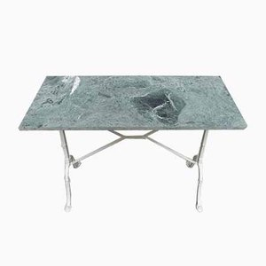 Mesa de jardín de mármol verde y hierro fundido