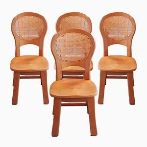 Brutalist Oak & Rattan Dining Chairs, 1970s, Set of 4