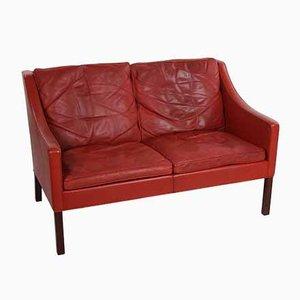 Vintage 2-Sitzer Ledersofa von Borge Mogensen für Fredericia