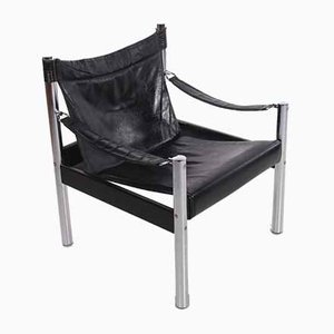 Swedish Black Leather & Chrome Lounge Chair from Johanson