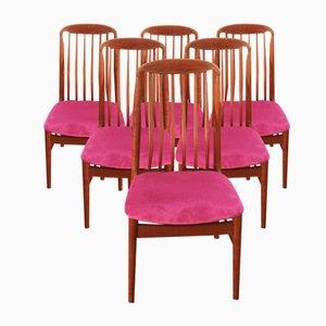 Dänische Mid-Century Teak Esszimmerstühle von Benny Linden, 6er Set
