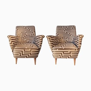 Gio Ponti Style Armchairs, Set of 2