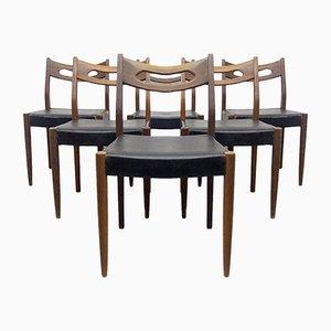 Stühle aus Teak und Schwarzem Kunstleder, 1950er, 6er Set