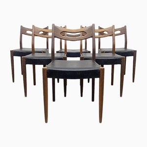 Teak and Black Leatherette Chairs, 1950s, Set of 6