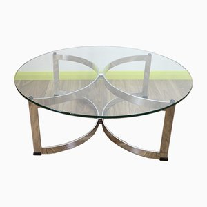 Mid-Century Chrome and Glass Coffee Table from Merrow Associates