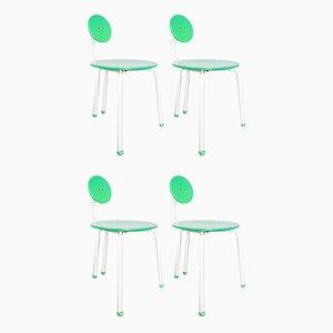 Sedie in legno verde, anni '70, set di 4