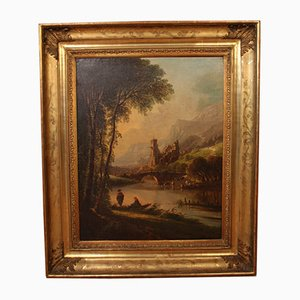 Large Painting of Animated Landscape by De Perret, 19th Century