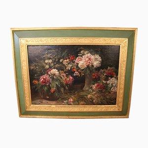 Henri-Arthur Bonnefoy, Bouquets de Fleurs, Oil On Canvas