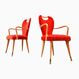 Italian Dining Chairs and Armchairs, 1950s, Set of 8