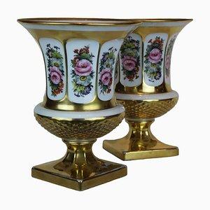Jarrones Medici vintage de porcelana. Juego de 2