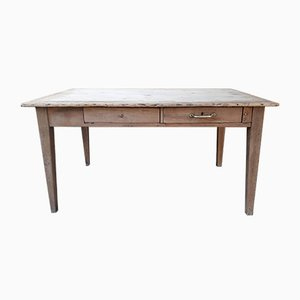 Vintage Rustic Farmhouse Table with Drawers
