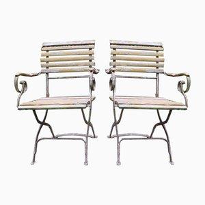 Antike Patinierte Gartenstühle aus Gusseisen mit Rollen, 2er Set