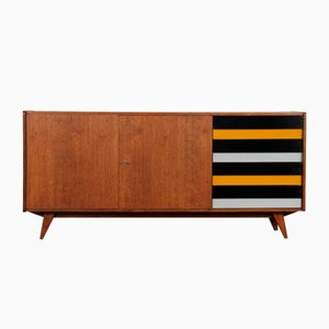 Wooden Sideboard with Yellow & Black Drawers by Jiri Jiroutek for Interier Praha, 1960s