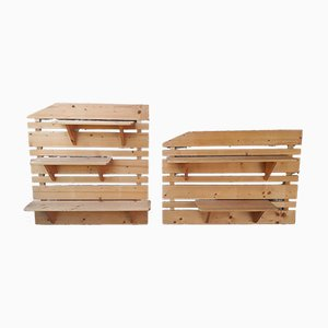 Pine Modular Wall Shelves, 1980s, Set of 2