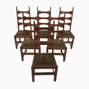 Mid-Century French Modernist Oak Dining Chairs, 1950s, Set of 6