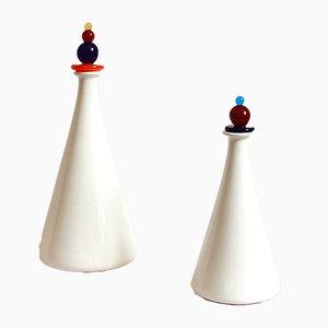 Botellas italianas vintage de cerámica y cristal de Murano, años 80. Juego de 2