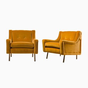 Italian Yellow Velvet & Brass Armchairs, 1950s, Set of 2