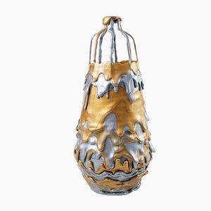 Hot Mess Gefäß Silber und Goldfarbene Lava Vase von Tanner Bowman