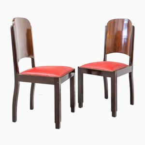 French Art Deco Chairs, 1920s, Set of 6