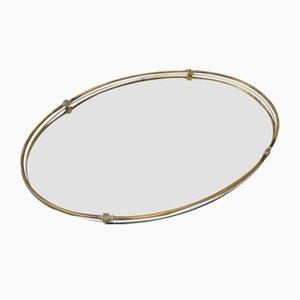 Specchio ovale vintage in bronzo dorato