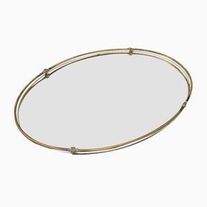 Vintage Gilt Bronze Oval Mirror