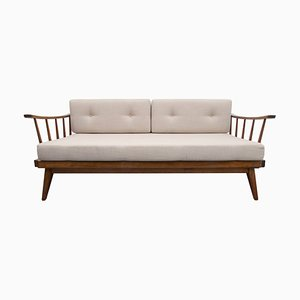 Walnut Daybed with Beige Upholstery & Blue Cushions from Walter Knoll / Wilhelm Knoll, 1950s